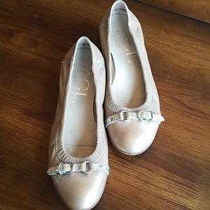 AGL Beige Cap Toe Ballet Flats
